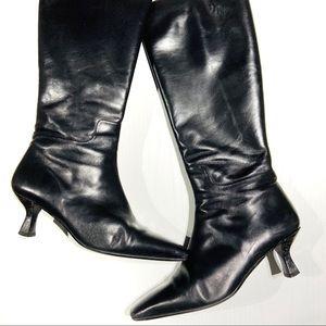 Talbots knee high whisper black boots kitten heel